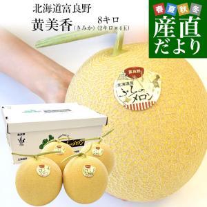 北海道から産地直送 富良野メロン 黄美香 8キロ (4玉から5玉入り)(1玉1.6キロから2キロ) メロン めろん 送料無料|sanchokudayori