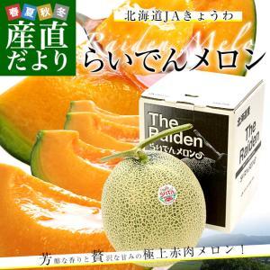 北海道産 JAきょうわ らいでんメロン 赤肉 1玉 1.3キロ めろん 夏ギフト お中元ギフト 市場スポット|sanchokudayori