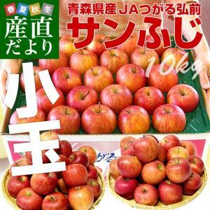 青森県より産地直送 JAつがる弘前 サンふじリンゴ 小玉 青秀 10キロ (46玉から56玉) 送料無料 りんご 林檎 sanchokudayori