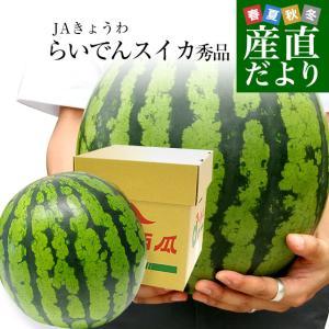 北海道より産地直送 JAきょうわ らいでんスイカ 超特大 秀品5Lサイズ 10キロ以上 すいか 西瓜 送料無料|sanchokudayori