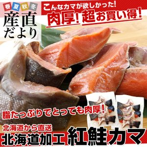 北海道から直送 北海道加工 脂たっぷりの紅鮭カマ(ロシア産) 500g (約4から7切)×2袋セット 送料無料 |sanchokudayori