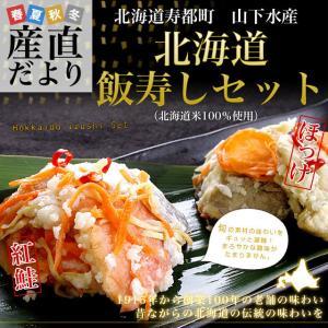 送料無料 北海道寿都町 山下水産 北海道飯寿しセット (ほっけ・紅鮭) 各300g