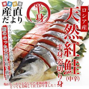 北海道加工 天然紅鮭 <中辛> 半身 姿切り身 約800g 送料無料 ロシア産|sanchokudayori