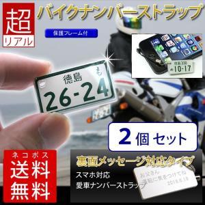 裏面メッセージ対応 特許ナンバープレートキーホルダー・ストラップ 中型・大型バイク<同一内容2個セット>/メール便 送料無料/|sancyokubin