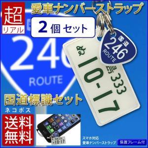 国道標識付 特許ナンバープレートストラップ・キーホルダー 普通車レイアウト<同一内容2個セット>/メール便 送料無料/|sancyokubin