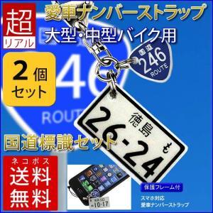<同一内容2個セット> 中型・大型バイク 国道標識付き 特許フレーム  ナンバープレートストラップ・キーホルダー/メール便 送料無料|sancyokubin