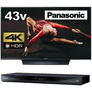 パナソニック 43V型 4K液晶テレビ ビエラ TH-43FX750 + 1TB 2チューナー ブル...