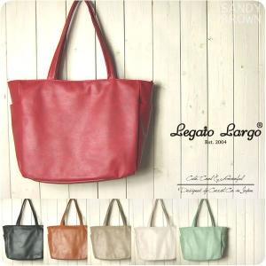 Legato Largo レガートラルゴ トートバッグ レディース 微光沢フェイクレザー 10ポケット A4トート|sandybrown