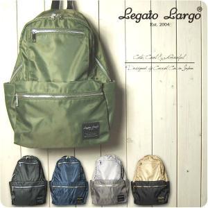 Legato Largo リュック レディース 撥水加工微光沢ナイロン リール付き 10ポケット リ...