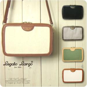 Legato Largo レガートラルゴ お財布ショルダーバッグ レディース 撥水加工キャンバス フェイクレザー  ショルダーバッグ|sandybrown