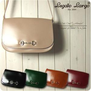 Legato Largo レガートラルゴ ショルダーバッグ レディース シャイニーフェイクレザー ビット金具 フラップショルダー|sandybrown