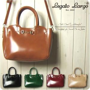 Legato Largo レガートラルゴ ショルダーバッグ レディース シャイニーフェイクレザー ビット金具 2WAY トートバッグ|sandybrown