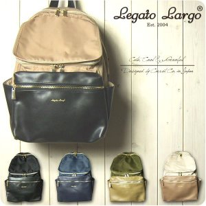 Legato Largo リュック レディース 撥水高密度ナイロンとフェイクレザー ボックスポケット...