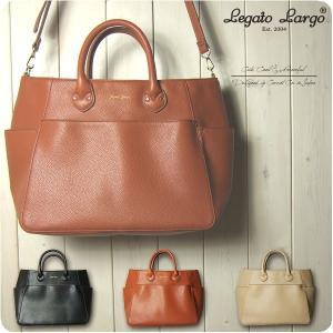 Legato Largo レガートラルゴ ショルダーバッグ レディース リッチグレインフェイクレザー 10ポケット 2WAY トートバッグ|sandybrown