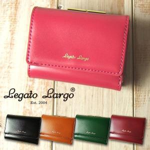 財布 レディース 三つ折り財布 シャイニーフェイクレザー がま口 Legato Largo レガートラルゴ ミニ財布|sandybrown