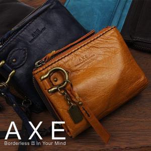 2つ折り財布 メンズ アックス AXE ラウンドファスナー2つ折り財布 /ピロー/ 603613 sane