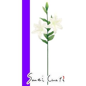 造花 ディスプレイカサブランカ x 2(雄しべ白タイプ)アーティフィシャルフラワー 素材 パーツ 大量