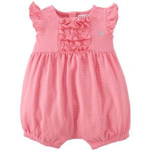65552a463b098 Ralph Lauren(ラルフローレン) ラッフルドショートオール(Pink) 6M 12M 18M 24M