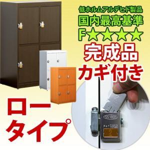 業務用 鍵付き下駄箱 ロータイプ カギ付き シューズボックス 日本製 完成品 L600-4D|sangostyle
