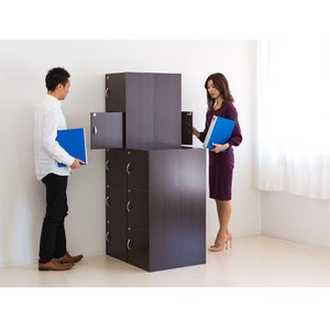 A4本棚 鍵付き収納ボックス 3段カラーボックス 扉付き sangostyle 11