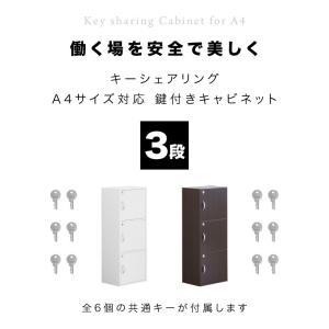 A4本棚 鍵付き収納ボックス 3段カラーボックス 扉付き sangostyle 04