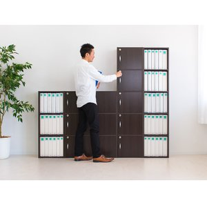A4本棚 鍵付き収納ボックス 3段カラーボックス 扉付き sangostyle 05