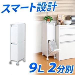 9リットルタイプ 2分別 スチール製 ゴミ箱 約幅20cm 日本製|sangostyle