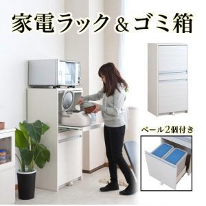 キッチン収納 家電ラック ダストボックス 2分別 幅57.5cm 高さ118cm 日本製 完成品 おしゃれ 北欧|sangostyle