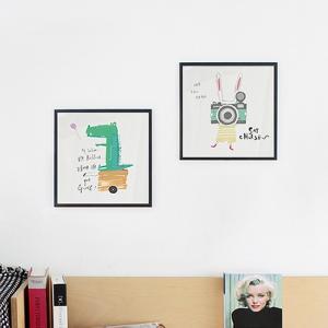 アート ポスター インテリア おしゃれ 高級感 モダン デザイン 北欧 おしゃれなアートフレーム 額縁 アルミ製フレーム付 ベイビーアニマル 277×277|sangsanghoo-jp