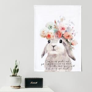タペストリー 北欧 おしゃれ ファブリックポスター インテリアポスター ウォールフラッグ ランチョンマット フラワーベイビー_ラビット (ナイロン) sangsanghoo-jp