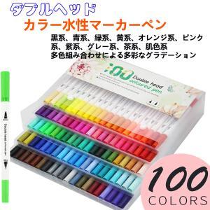 カラーペンセット カラー水性ペン100色 水性マーカーペン イラストペン ダブルヘッド イラスト&手...