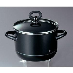 ホーロー鍋 エジリー  プレミアム・ブラック 『20cm深型鍋』 IH対応 日本製|sankitrd