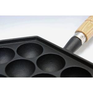 南部鉄器 たこ焼き器  たこやき14穴(木柄付)  岩鋳 100V・200V  IH対応 直火もOK 日本製|sankitrd|03