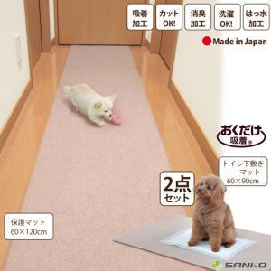 ペット用 床の保護マットセット 消臭保護マット トイレ下敷きマット  おくだけ吸着 サンコー|sanko-online