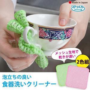 キッチンスポンジ メッシュタイプ 乾きが早い 「キッチンピカイチ2色組」  洗剤いらず びっくりフレッシュ サンコー|sanko-online
