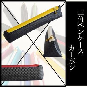 三角ペンケース 引き手、ファスナーが選べるコンパクトペンケース カーボン柄 【ゆうパケット送料無料】|sankyo-co