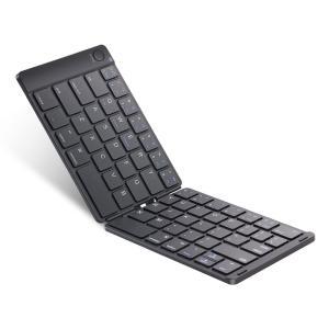 Ewin 新型 Bluetoothキーボード 折りたたみ式 157g 超軽量 薄型 レザーカバー 財...
