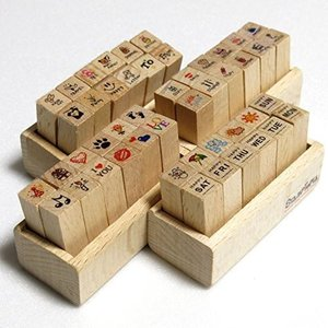 木製スタンプセット 曜日&天気 感情 予定 イラスト の 4タイプ! 日記 や 手帳 お 手紙 を かわいく デコ スタンプ セット sanmaruroku