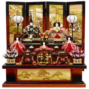 雛人形 五人収納飾り 平安関光作 あすか収納三段 茶ぼかし 平安絵巻
