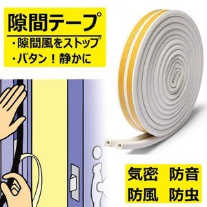 防音テープ:隙間を埋める事で、ドアの隙間からの音の出入りを手軽に軽減する事ができ、閉まるドアにソフト...
