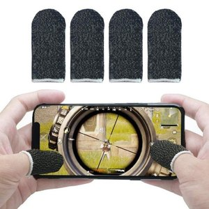 荒野行動 PUGB スマホゲーム 指サック 反応早い 4個入 手汗対策 超薄 耐久 指カバー iPhone/Android/iPad対応 (ブラック) 定番|sanosyoten