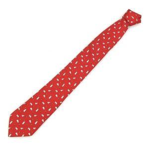 クマと蝶々が戯れているデザインのネクタイです☆クマの色々な仕草がキュート☆真っ赤なネクタイはつけるだ...