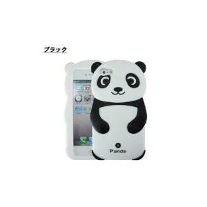 可愛いiphone5/5sケース 人気のキャラクター パンダ3Dデザイン ブラック|sanpouyosi-store