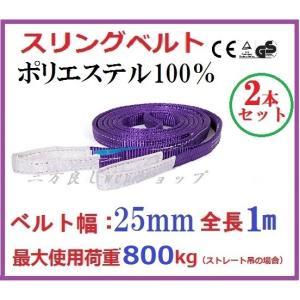 2本セット スリングベルト ベルト幅 25mm全長 1m /耐久性に優れているポリエステル強力原糸100% ナイロンスリング ベルトスリング 繊維ベルト|sanpouyosi-store