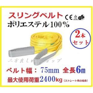 2本セット スリングベルト ベルト幅75mm 全長6m/ポリエステル強力原糸100%/運搬・移動など最適 ナイロンスリング ベルトスリング |sanpouyosi-store