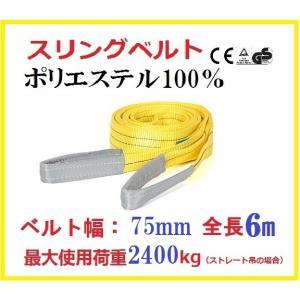スリングベルト ベルト幅75mm 全長6m/ポリエステル強力原糸100%/運搬・移動など最適 ナイロンスリング ベルトスリング |sanpouyosi-store