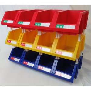 【あす楽対応】連結パーツボックス (小) ×18コ 【三方良し】 三色混合セット(ブルー/イエロー/レッド各6コ)同じ色セット組も選べる 名札付|sanpouyosi-store