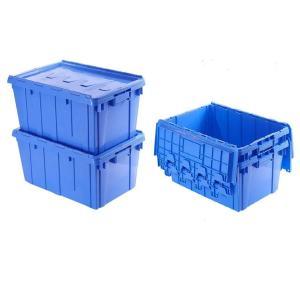 【三方良し】(4個セット)フタ一体型コンテナボックス 業務用 ネスティング&スタッキング両立 40L ブルー(青)(重要書類搬送用/サンクレット)ハード |sanpouyosi-store