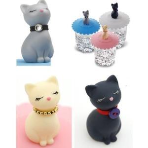 可愛い猫3匹(3色)のセットです。  セット価格でとてもお得になっています。   蓋の素材:シリコン...