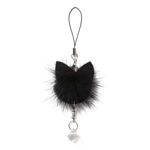 ストラップ ミンクファー が 可愛い 黒猫 携帯ストラップ スマホストラップ カメラストラップ ねこ...
